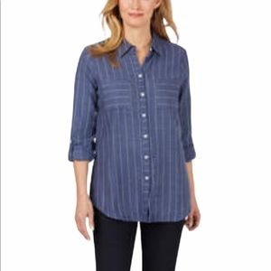 Foxcroft Nyc Zoey Brushed Herringbone Stripe Long Sleeve Button Front Shirt